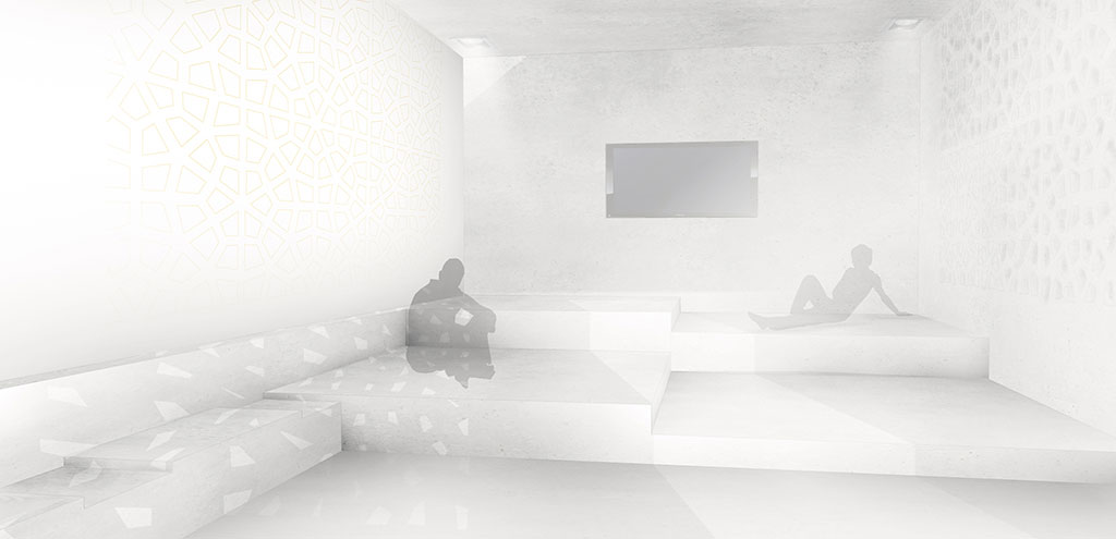 der offene bereich, bestückt mit hifi-anlage und integriertem tv wird gemeinsam genutzt. dachüberstände sorgen für die nötige beschattung und kühlung.