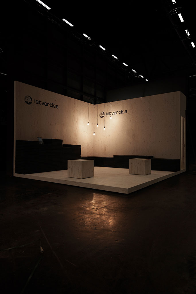 exhibition booth for the young hamburg based company letvertise