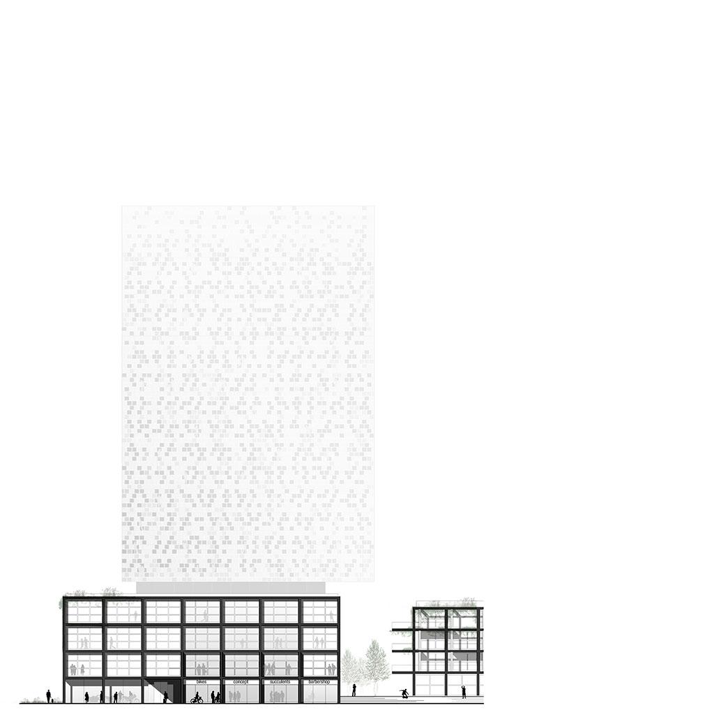 die ansicht zeigt den geäudekomplex mit dem schwerpunkt der hotel-architektur aus noerdlicher perspektive