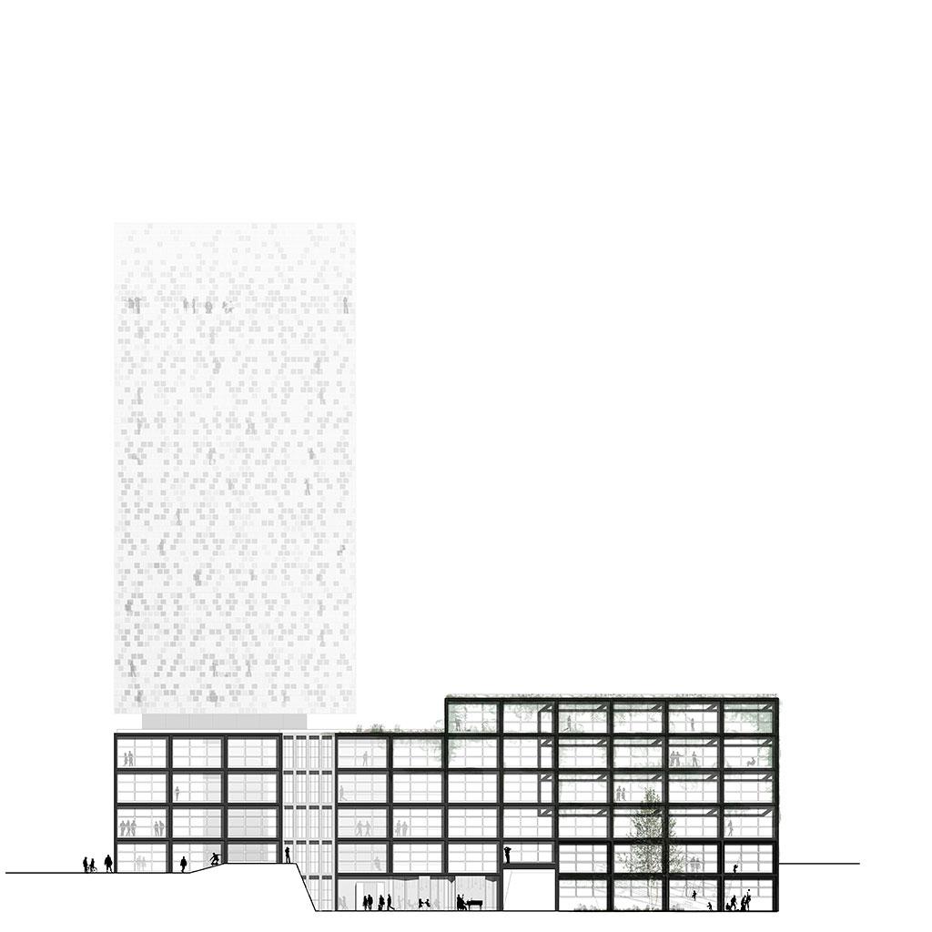 die ansicht zeigt den geäudekomplex mit dem schwerpunkt der hotel-architektur aus der westlichen perspektive