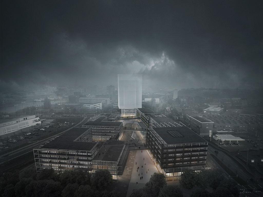 die architektur illustriert durch den schwebenden baukörper das narrativ der holographischen projektion, die datenreste aus vergangenheit und zukunft wie geisterhafte erscheinungen im raqum erscheinen lässt