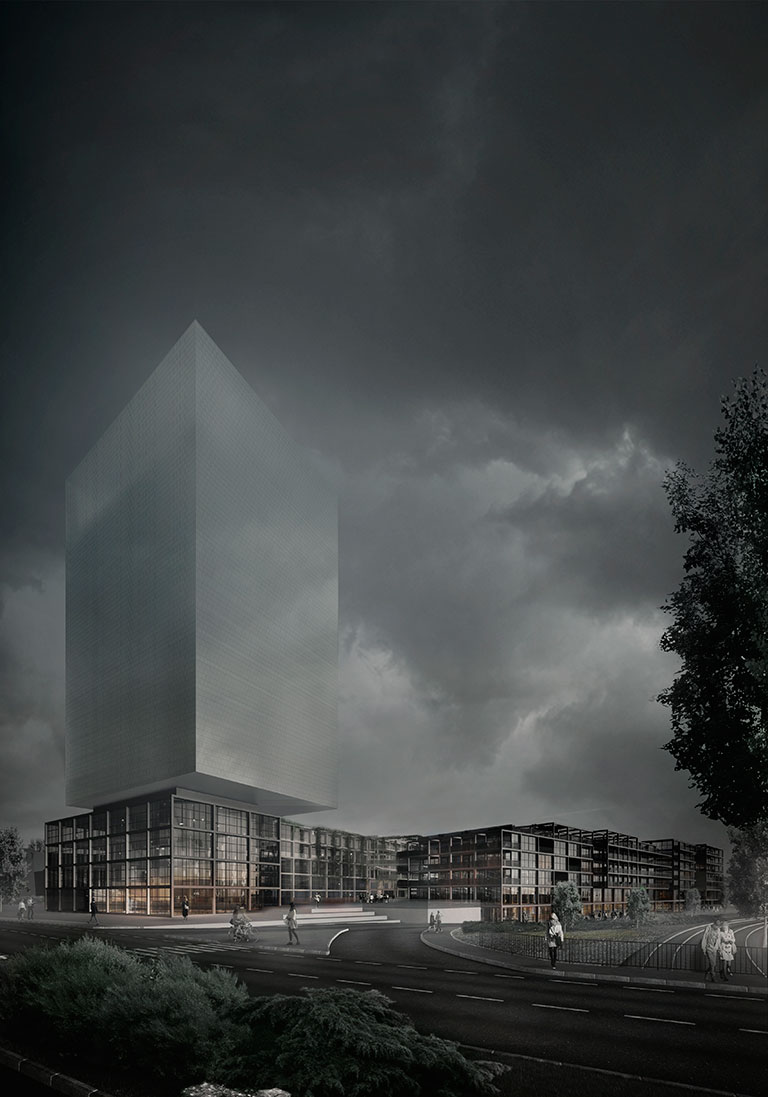 die architektur des hotels scheint wie eine holografische projektion am himmel und untermauert das narrativ des weissen schiffs