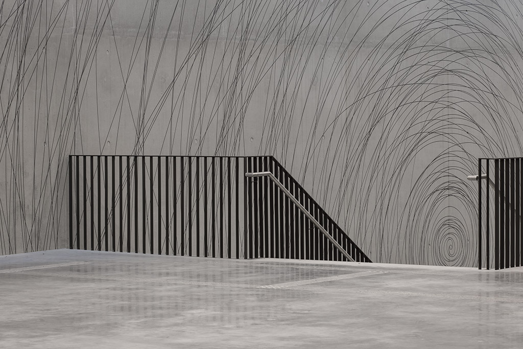 ausschnitt der raumgrafik an der haupttreppe im campus am olympiapark münchen